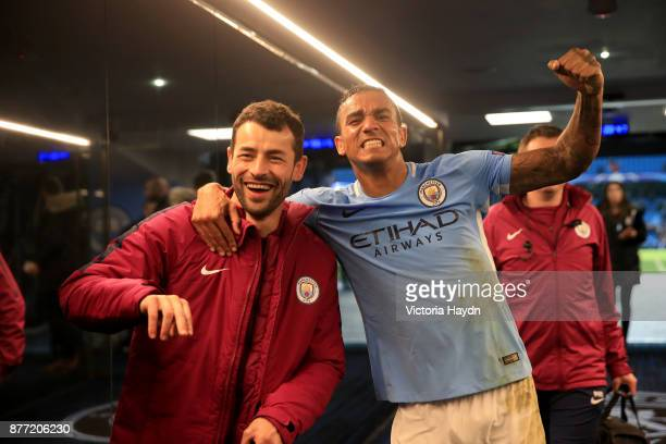 Danilo of Manchester City celebrates after the UEFA Champions League group F match between Manchester City and Feyenoord at Etihad Stadium on...