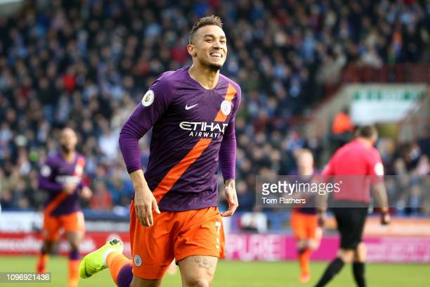 Danilo of Manchester City celebrates scoring his sides first goal during the Premier League match between Huddersfield Town and Manchester City at...