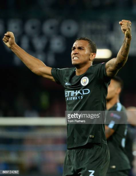 Danilo of Manchester City celebrates victory after the UEFA Champions League group F match between SSC Napoli and Manchester City at Stadio San Paolo...