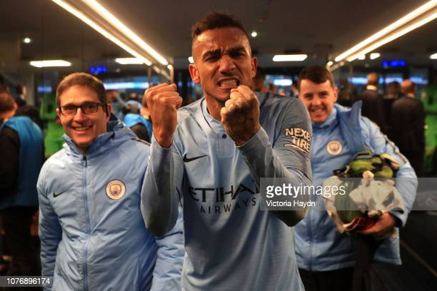 Danilo of Manchester City celebrates victory in the tunnel after the Premier League match between Manchester City and Liverpool FC at the Etihad...