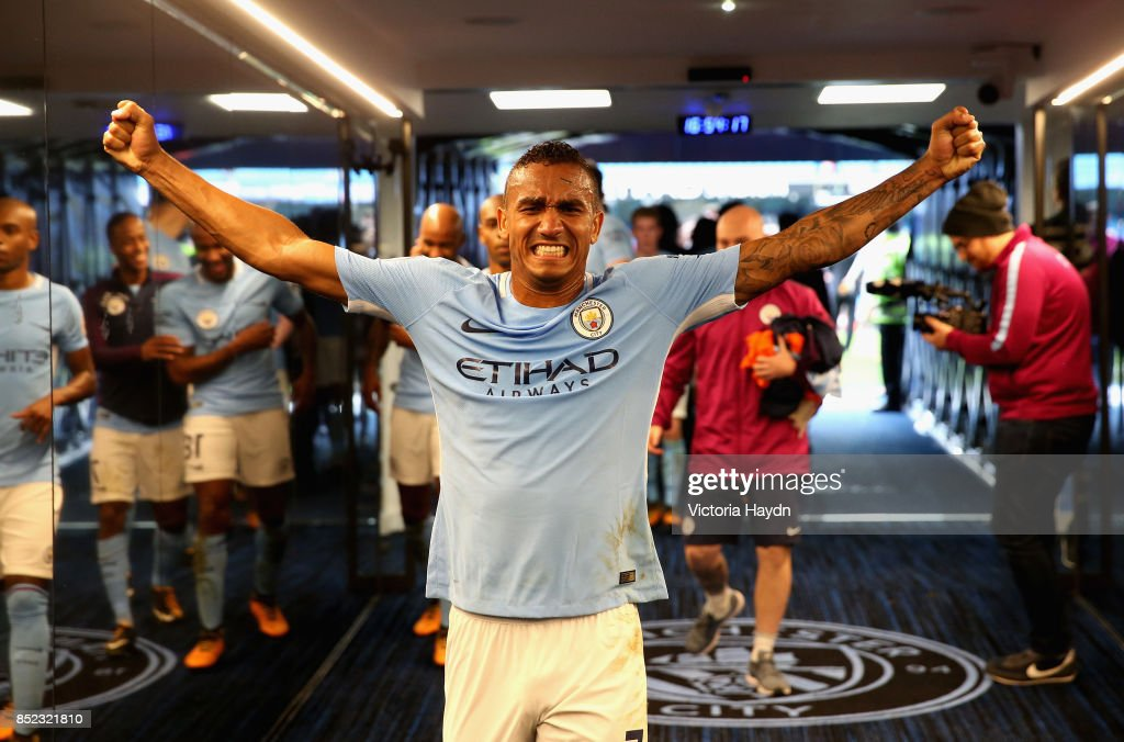 Danilo of Manchester City celebrates victory in the tunnel after the Premier League match between Manchester City and Crystal Palace at Etihad Stadium on September 23, 2017 in Manchester, England.