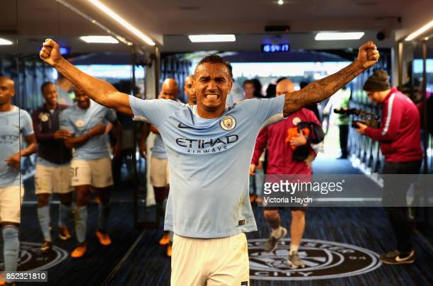 Danilo of Manchester City celebrates victory in the tunnel after the Premier League match between Manchester City and Crystal Palace at Etihad...