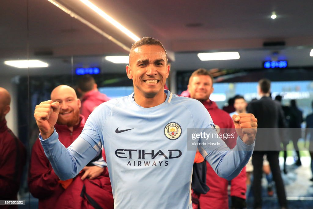 Danilo of Manchester City celebrates victory in the tunnel after the Premier League match between Manchester City and AFC Bournemouth at Etihad Stadium on December 23, 2017 in Manchester, England.