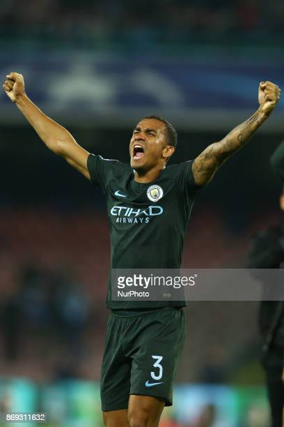 Danilo of Manchester City celebration during the UEFA Champions League football match Napoli vs Manchester City on November 1 2017 at the San Paolo...