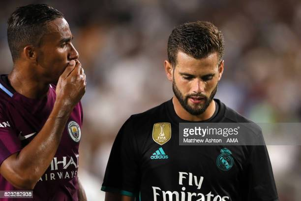 Danilo of Manchester City chats to Mateo Kovacic of Real Madrid during the International Champions Cup 2017 match between Manchester City and Real...
