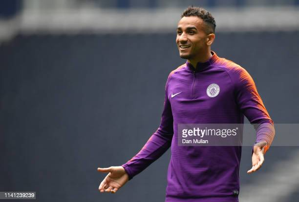 Danilo of Manchester City during a Manchester City training session ahead of their UEFA Champions League quarterfinal match against Tottenham Hotspur...