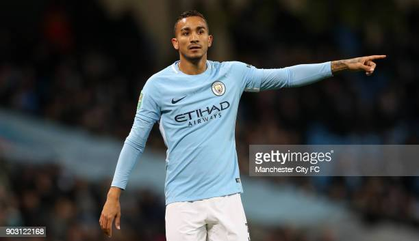 Danilo of Manchester City during the Carabao Cup SemiFinal First Leg between Manchester City and Brostol City at Etihad Stadium on January 9 2018 in...