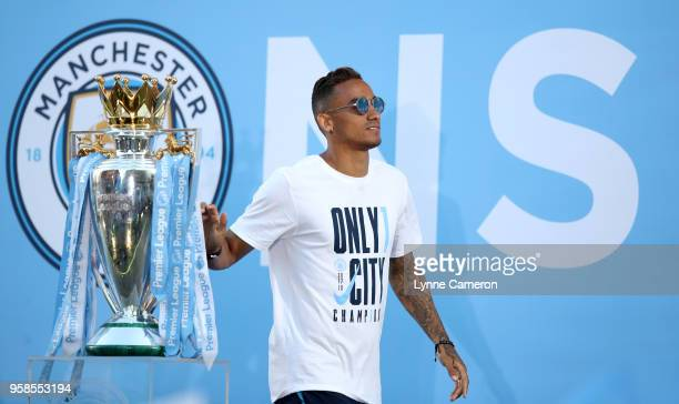Danilo of Manchester City during the Manchester City Trophy Parade in Manchester city centre on May 14 2018 in Manchester England