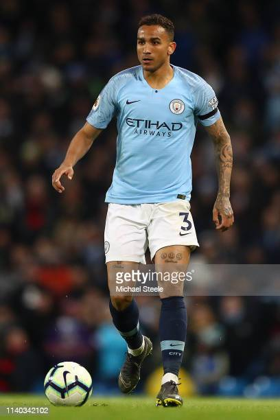 Danilo of Manchester City during the Premier League match between Manchester City and Cardiff City at Etihad Stadium on April 03 2019 in Manchester...