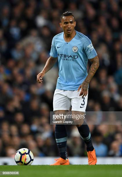 Danilo of Manchester City during the Premier League match between Manchester City and Brighton and Hove Albion at Etihad Stadium on May 9 2018 in...