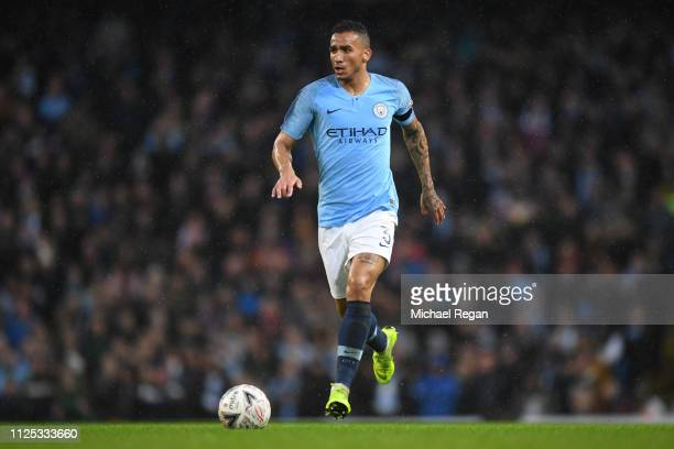 Danilo of Manchester City in action during the FA Cup Fourth Round match between Manchester City and Burnley at Etihad Stadium on January 26 2019 in...