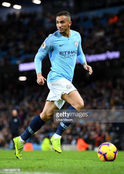 Danilo of Manchester City in action during the Premier League match between Manchester City and Wolverhampton Wanderers at Etihad Stadium on January...