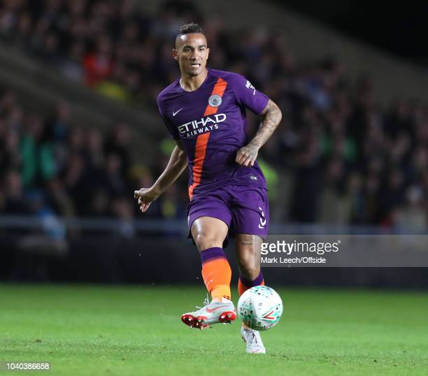Danilo of Manchester City kicks the ball during the Carabao Cup Third Round match between Oxford United and Manchester City at Kassam Stadium on...