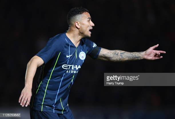 Danilo of Manchester City reacts during the FA Cup Fifth Round match between Newport County AFC and Manchester City at Rodney Parade on February 16...