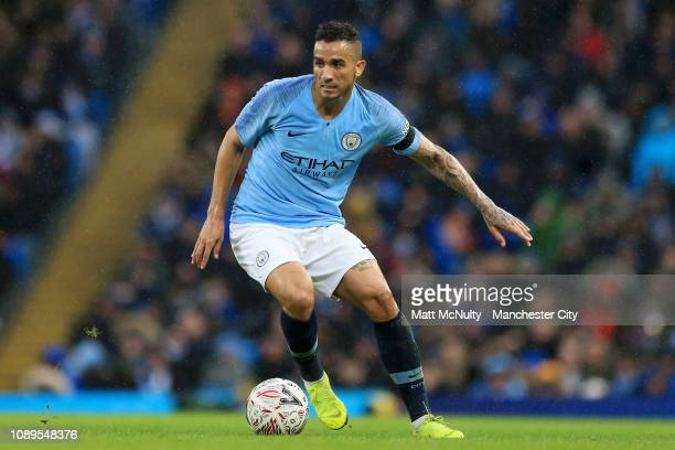 Danilo of Manchester City runs with the ball during the FA Cup Fourth Round match between Manchester City and Burnley at Etihad Stadium on January 26...
