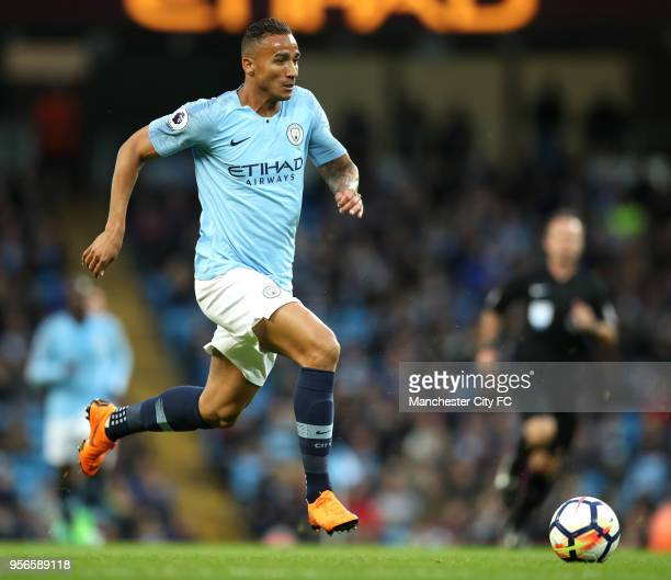 Danilo of Manchester City runs with the ball during the Premier League match between Manchester City and Brighton and Hove Albion at Etihad Stadium...