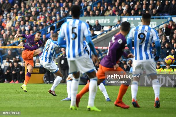 Danilo of Manchester City scores his sides first goal during the Premier League match between Huddersfield Town and Manchester City at John Smith's...