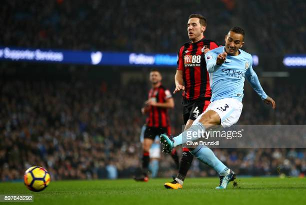 Danilo of Manchester City scores his sides fourth goal during the Premier League match between Manchester City and AFC Bournemouth at Etihad Stadium...