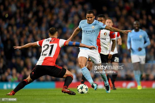 Danilo of Manchester City takes on Sofyan Amrabat of Feyenoord during the UEFA Champions League group F match between Manchester City and Feyenoord...