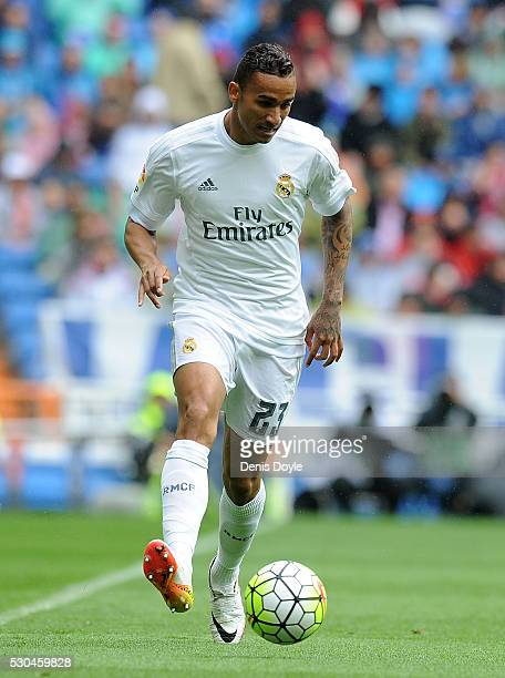 Danilo of Real Madreid in action during the La Liga match between Real Madrid CF and Valencia CF at Estadio Santiago Bernabeu on May 8 2016 in Madrid...