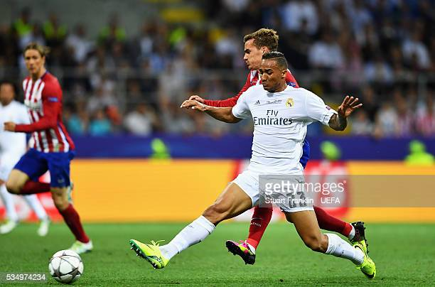 Danilo of Real Madrid blocks the way of Antoine Griezmann of Atletico Madrid during the UEFA Champions League Final between Real Madrid and Club...