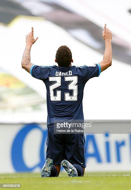 Danilo of Real Madrid celebrates after scoring during the La Liga match between Celta de Vigo and Real Madrid CF at Estadio Balaidos on October 24...