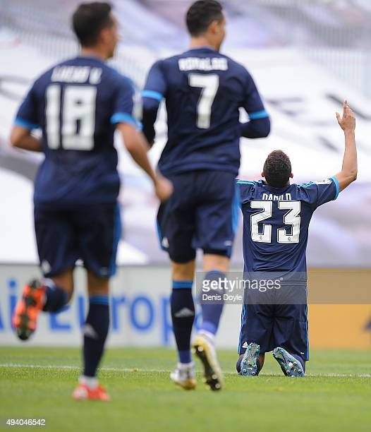 Danilo of Real Madrid celebrates after scoring his team's 2nd goal during the La Liga match between Celta Vigo and Real Madrid at Estadio Balaidos on...