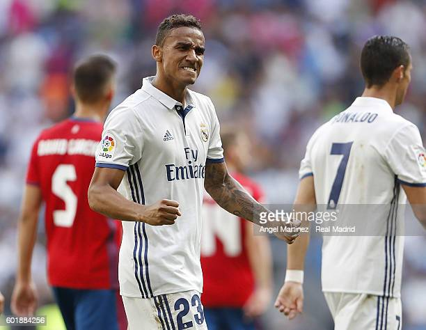 Danilo of Real Madrid celebrates after scoring his team's second goal during the La Liga match between Real Madrid CF and CA Osasuna at Estadio...