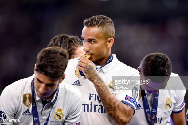 Danilo of Real Madrid celebrates the victory of the Champions League after the UEFA Champions League Final match between Real Madrid and Juventus at...