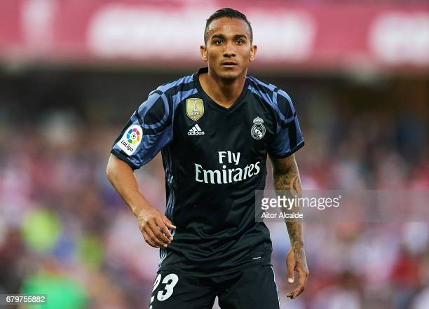 Danilo of Real Madrid CF ilooks on during the La Liga match between Granada CF v Real Madrid CF at Estadio Nuevo Los Carmenes on May 6 2017 in...