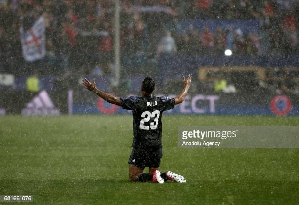 Danilo of Real Madrid gestures after winning the UEFA Champions League semi final second leg match between Atletico Madrid and Real Madrid at Vicente...