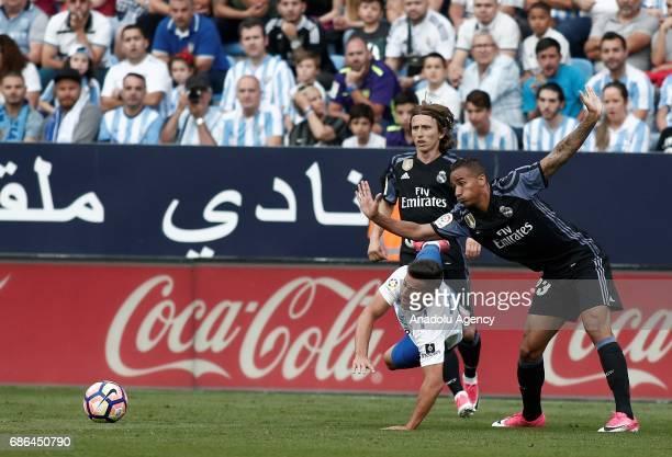 Danilo of Real Madrid in action against Jony of Malaga during the La Liga match between Malaga and Real Madrid at La Rosaleda Stadium on May 21 2017...