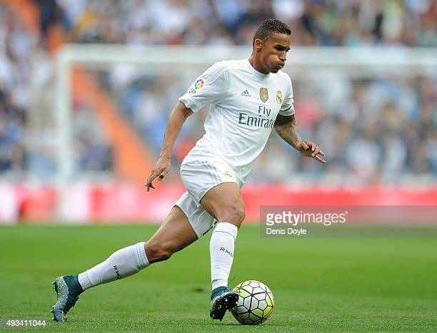 Danilo of Real Madrid in action during the La Liga match between Real Madrid CF and Levante UD at estadio Santiago Bernabeu on October 17 2015 in...