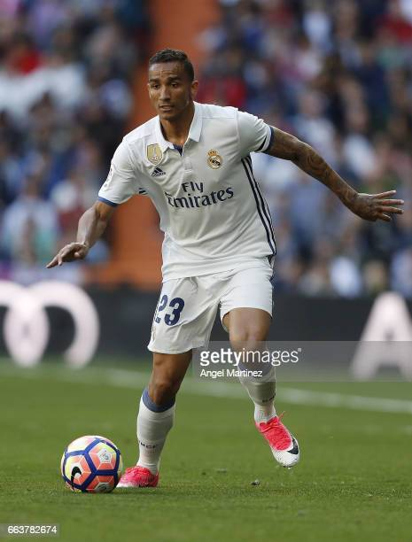 Danilo of Real Madrid in action during the La Liga match between Real Madrid and Deportivo Alaves at Estadio Santiago Bernabeu on April 2 2017 in...