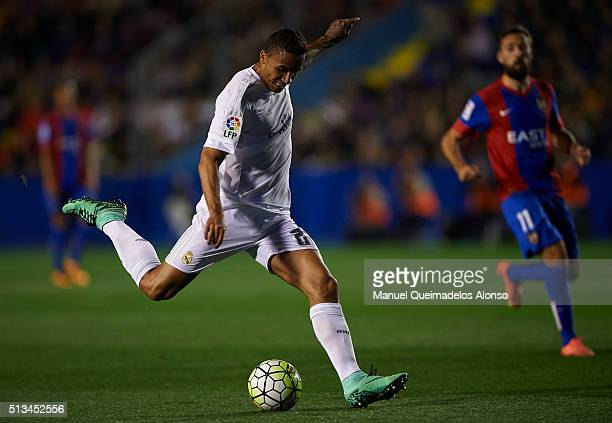 Danilo of Real Madrid in action during the La Liga match between Levante UD and Real Madrid at Ciutat de Valencia on March 02 2016 in Valencia Spain