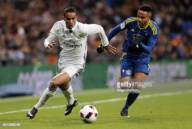 Danilo of Real Madrid is chased by Theo Bongonda of Celta de Vigo during the Copa del Rey quarterfinal first leg match between Real Madrid CF and...