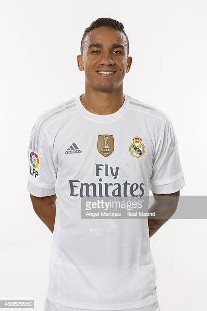 Danilo of Real Madrid poses during the official portrait photocall at Valdebebas training ground on September 28 2015 in Madrid Spain