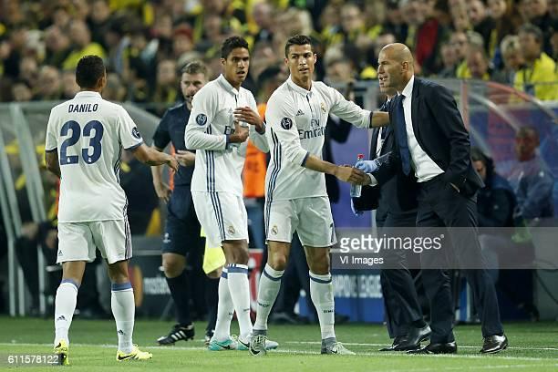 Danilo of Real Madrid Raphael Varane of Real Madrid Cristiano Ronaldo of Real Madrid coach Zinedine Zidane of Real Madridduring the UEFA Champions...