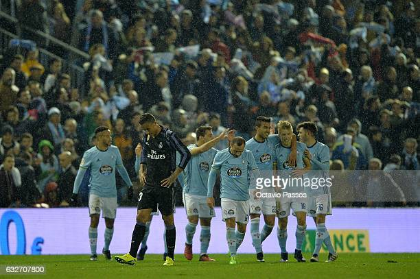 Danilo of Real Madrid reacts after Daniel Wass of Celta de Vigo scores a goal during the Copa del Rey quarterfinal second leg match between Real Club...