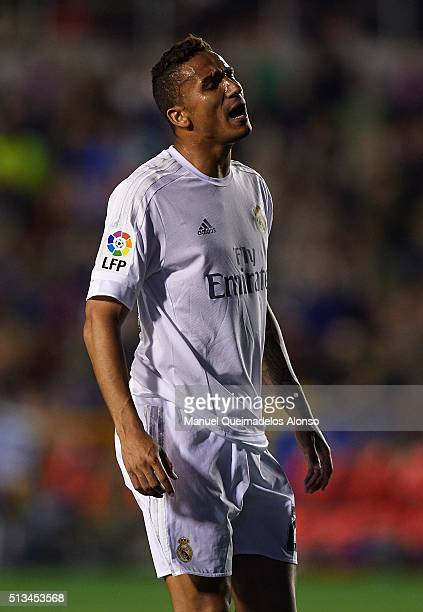 Danilo of Real Madrid reacts during the La Liga match between Levante UD and Real Madrid at Ciutat de Valencia on March 02 2016 in Valencia Spain