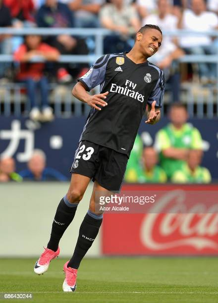 Danilo of Real Madrid reacts to a missed chance during the La Liga match between Malaga and Real Madrid at La Rosaleda Stadium on May 21 2017 in...