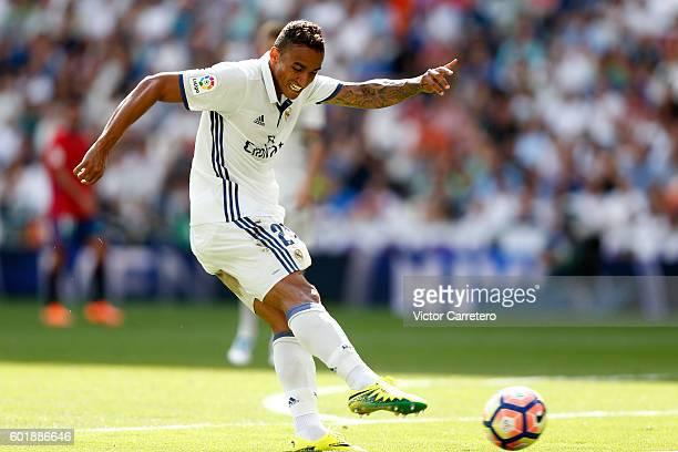 Danilo of Real Madrid scores his team's second goal during the La Liga match between Real Madrid CF and CA Osasuna at Estadio Santiago Bernabeu on...