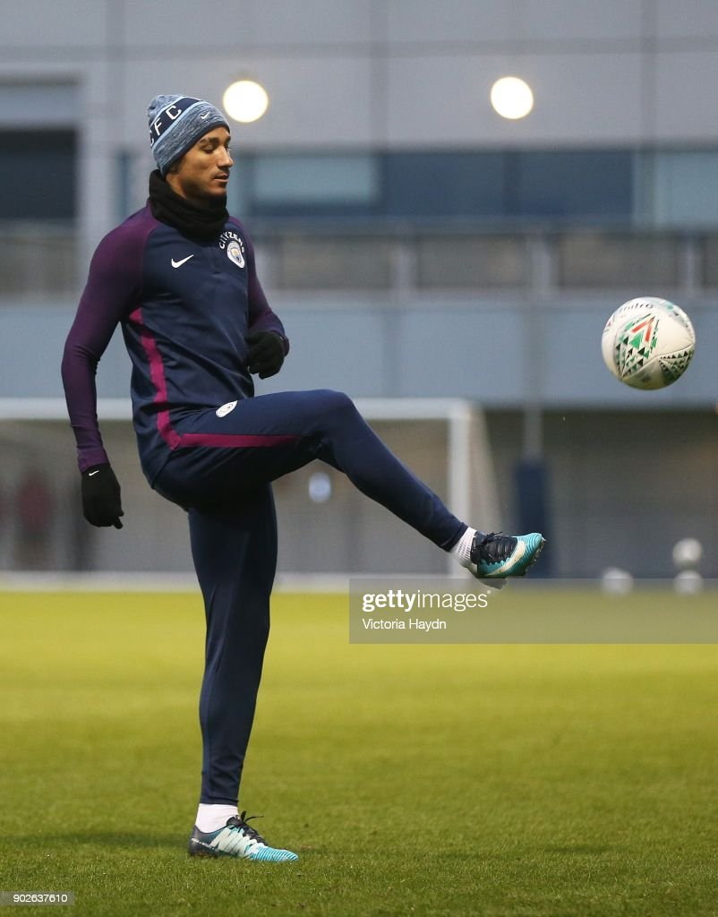 Danilo on the ball during training at Manchester City Football Academy on January 8, 2018 in Manchester, England.