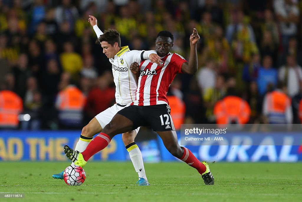Danilo Pantic of Vitesse and Victor Wanyama of Southampton during the UEFA Europa League Qualifier between Southampton and Vitesse at St Mary's Stadium on July 30, 2015 in Southampton, England.