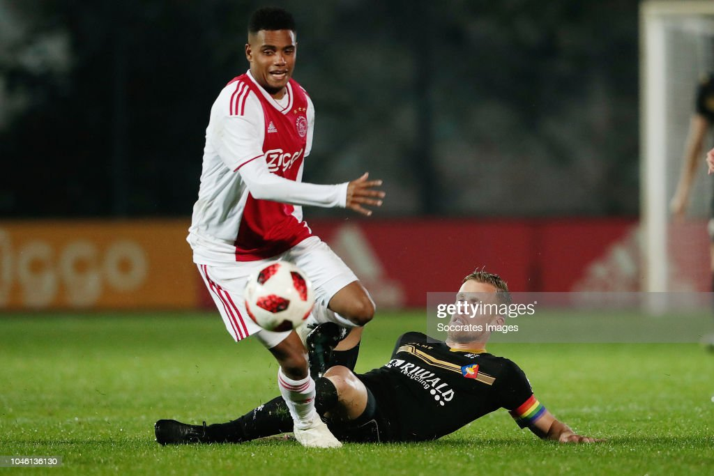Danilo pereira of ajax u23 toine van huizen of telstar during the