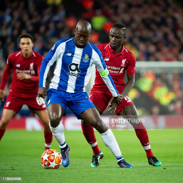 Danilo Pereira of FC Porto and Sadio Mane of FC Liverpool battle for the ball during the UEFA Champions League Quarter Final first leg match between...