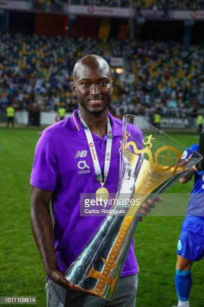 Danilo Pereira of FC Porto celebrates wining the Portuguese SuperCup trophy after the match between FC Porto and Desportivo das Aves for the...