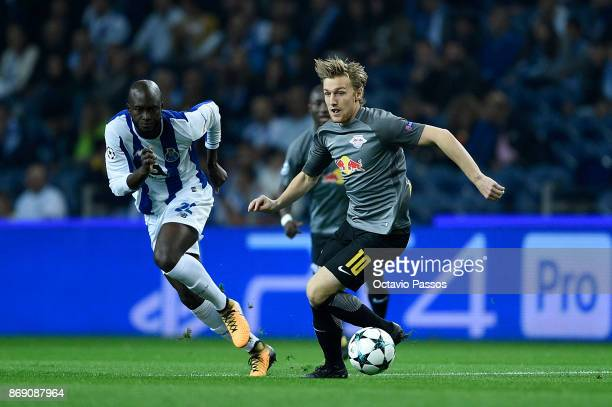 Danilo Pereira of FC Porto competes for the ball with Emil Forsberg of RB Leipzig during the UEFA Champions League group G match between FC Porto and...