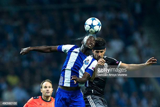 Danilo Pereira of FC Porto wins the header after Cesc Fabregas of Chelsea FC during the UEFA Champions League Group G match between FC Porto and...