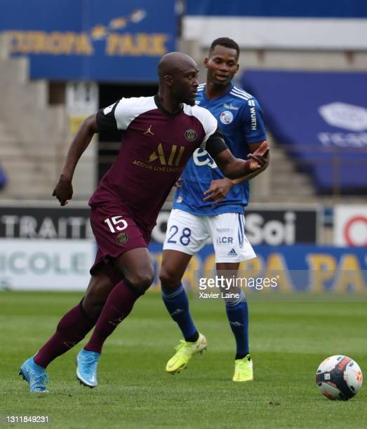 Danilo Pereira of Paris Saint-Germain in action during the Ligue 1 match between Strasbourg and Paris at Stade de la Meinau on April 10, 2021 in...
